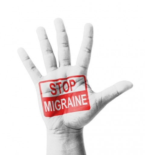 Open hand raised Stop Migraine sign painted multi purpose concep