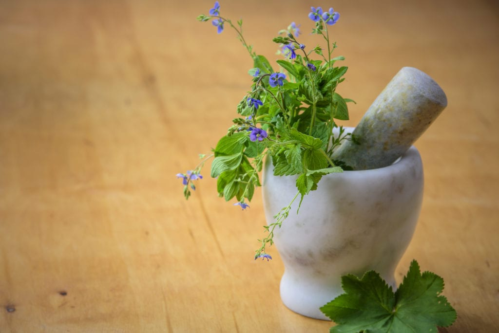natural migraine remedy Herbs from the meadow in a marble mortar