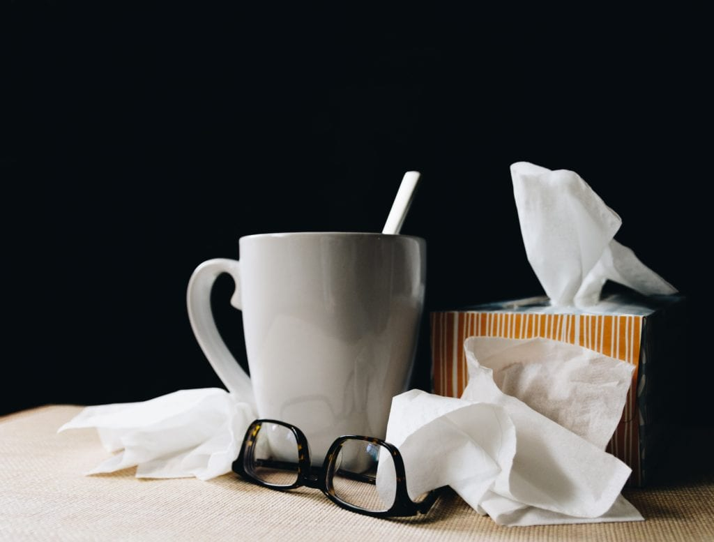 Tea Cup and Tissues for People with Sinus migraines