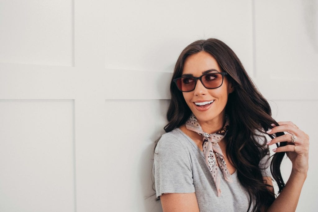Women Wearing KULA Migraine Glasses in front of white wall