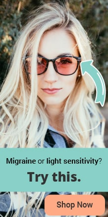 Sidebar banner of girl wearing migraine and photophobia glasses